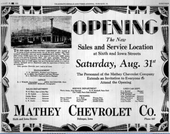 Bird Chevrolet Dubuque >> MATHEY CHEVROLET COMPANY - Encyclopedia Dubuque